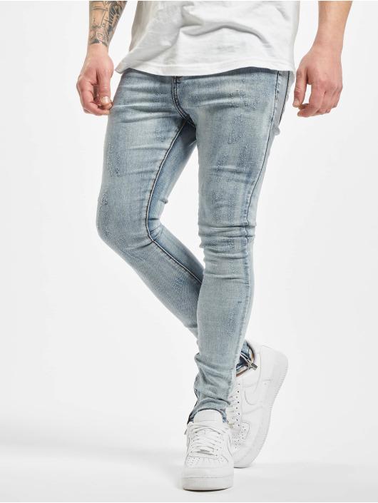 Sixth June Skinny Jeans Denim With Zip And Light Destr niebieski