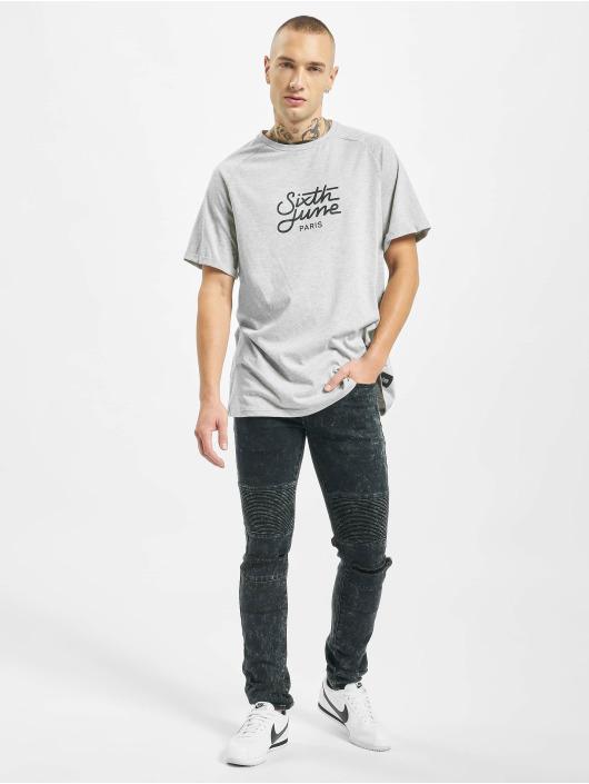 Sixth June Slim Fit Jeans Destroyed Biker schwarz