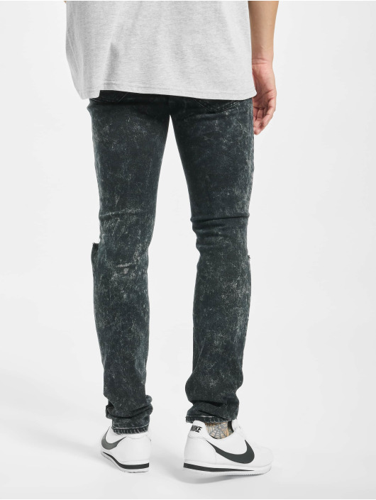 Sixth June Slim Fit Jeans Destroyed Biker svart