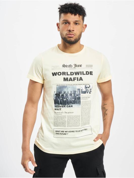 Sixth June t-shirt Newspaper beige