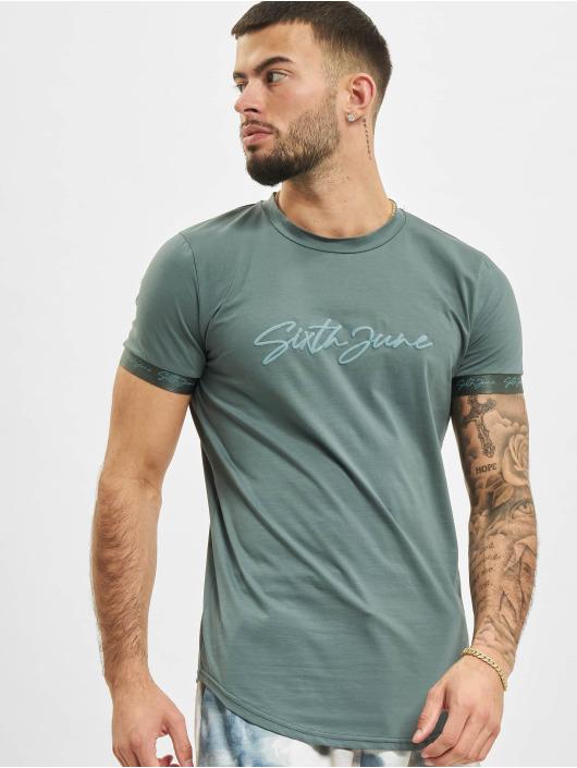 Sixth June T-Shirt Signature Velvet Logo grün