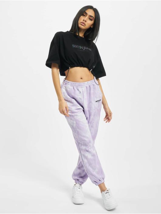 Sixth June T-Shirty Elastic Crop czarny