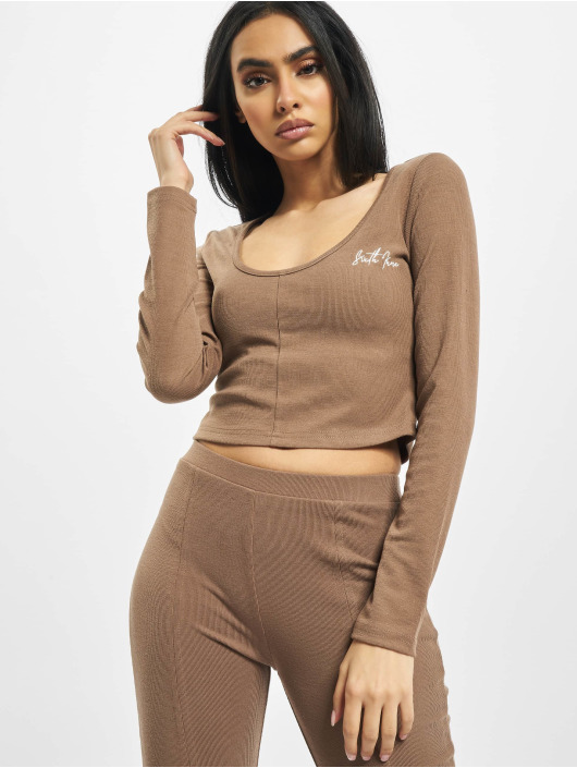 Sixth June Top Ribbed Crop V2 brown