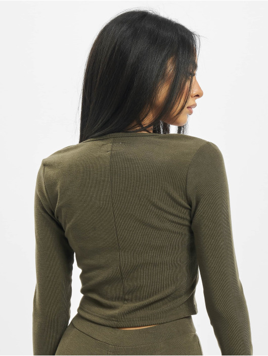 Sixth June Top Ribbed Crop V2 khaki