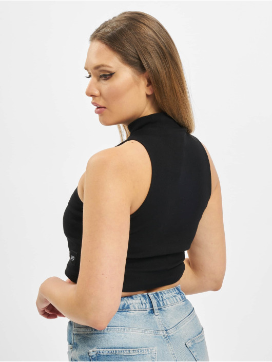 Sixth June Top Ribbed Crop schwarz