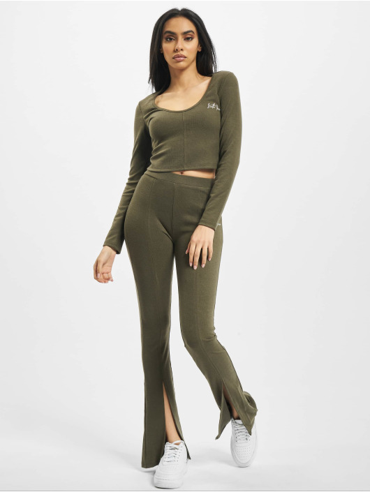 Sixth June Tops Ribbed Crop V2 khaki