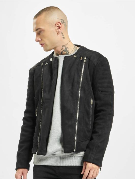 Sixth June Transitional Jackets Regular Perfecto Suede Fabric svart