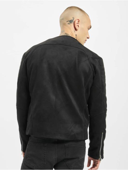 Sixth June Zomerjas Regular Perfecto Suede Fabric zwart