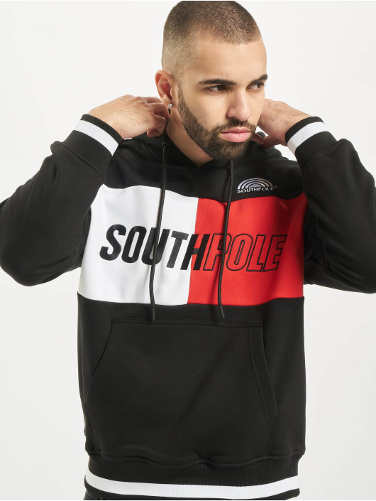 Southpole Bluzy z kapturem Block Logo czarny