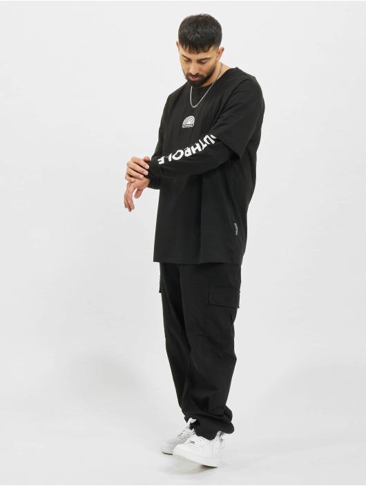 Southpole Camiseta de manga larga Basic Double Sleeve negro