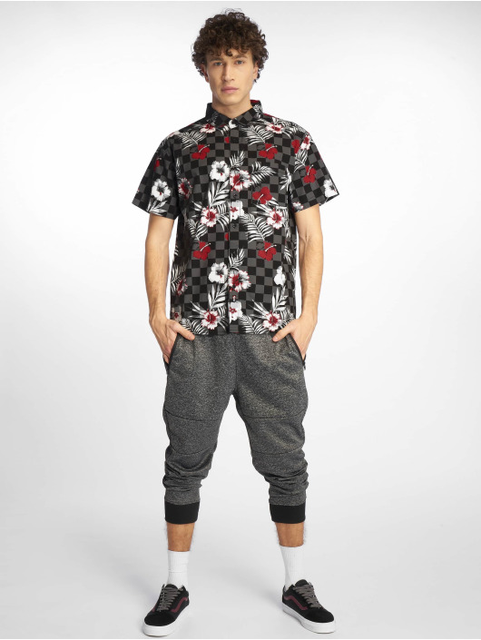 Southpole Skjorta Flower & Checker Print svart