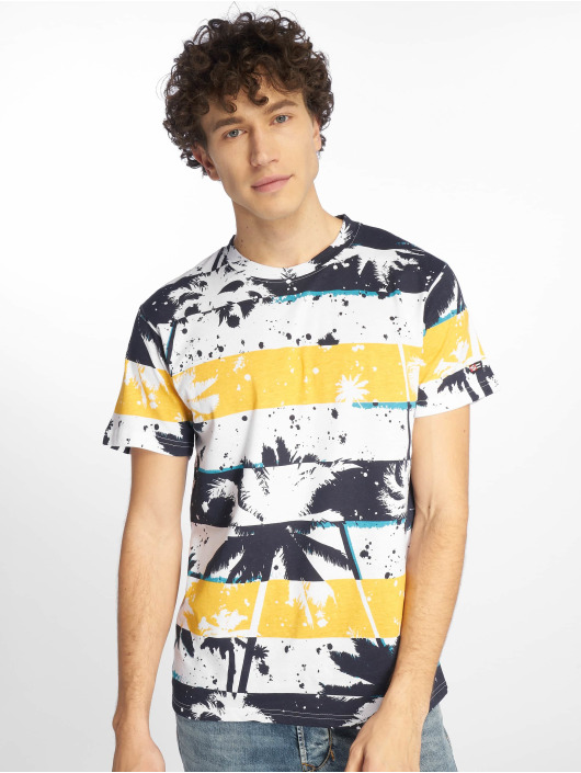 Southpole T-Shirt Palm Tree Stipe Print blau