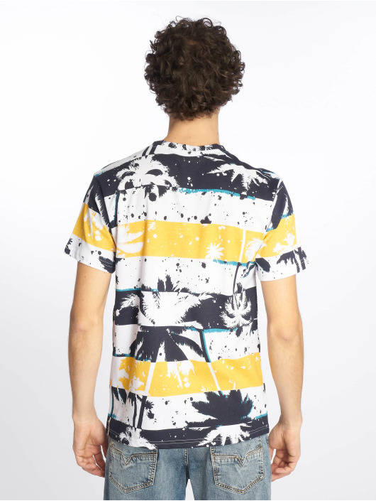 Southpole T-Shirt Palm Tree Stipe Print blue