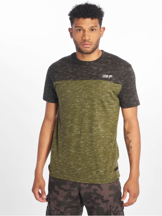 Southpole T-shirt Color Block Tech oliva