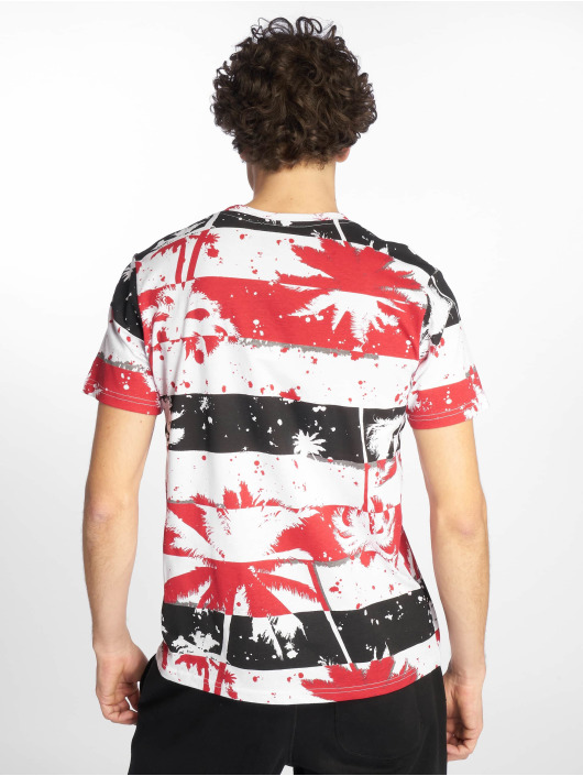 Southpole T-Shirt Palm Tree Stipe Print rot