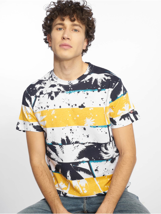 Southpole T-Shirty Palm Tree Stipe Print niebieski