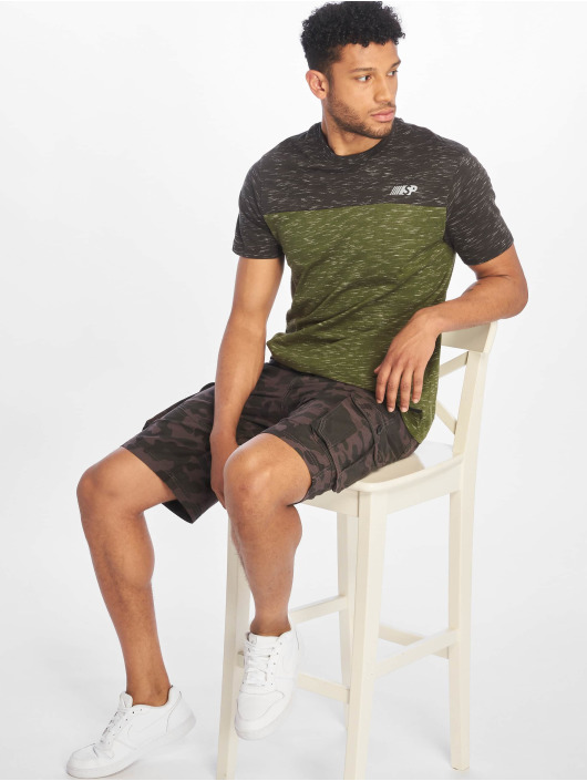 Southpole T-Shirty Color Block Tech oliwkowy