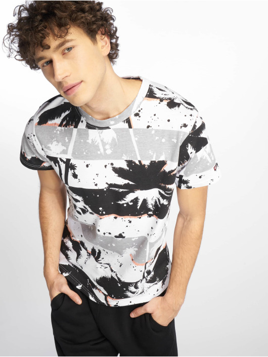 Southpole T-skjorter Palm Tree Stipe Print svart