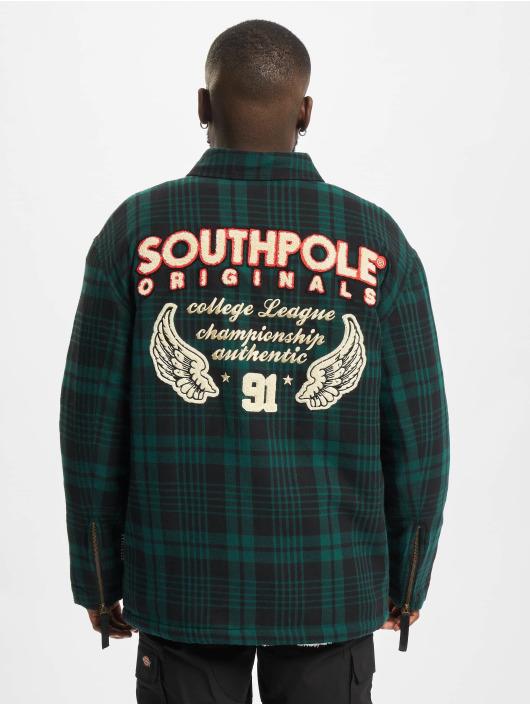 Southpole Veste mi-saison légère Flannel Application vert