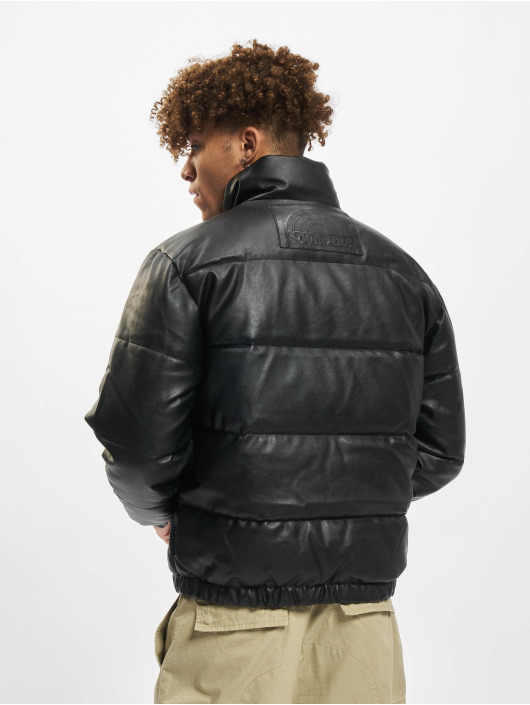 Southpole Winter Jacket Imitation Leather Bubble black