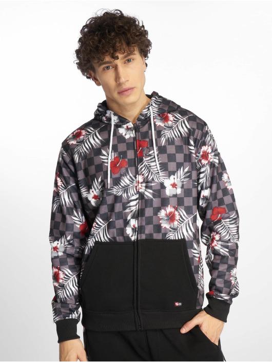 Southpole Zip Hoodie Floral Checker Fleece mangefarget