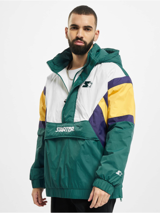 Starter Lightweight Jacket Color Block Half Zip Retro green