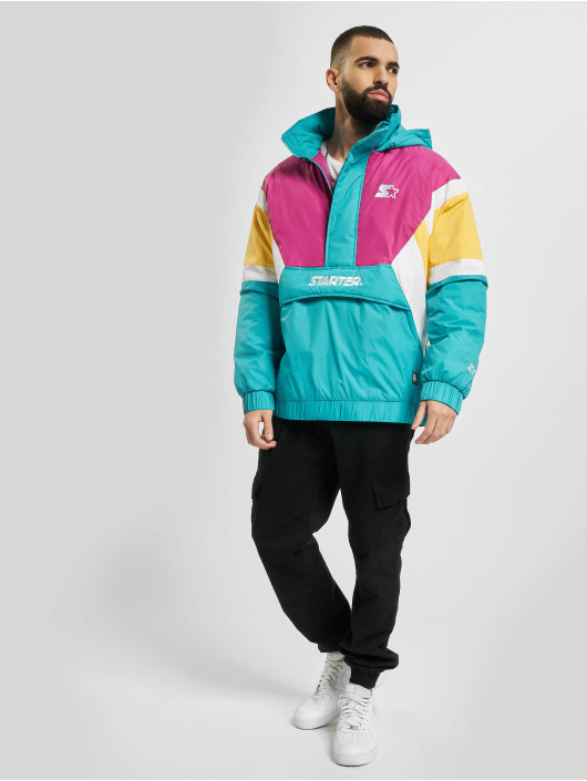 Starter Lightweight Jacket Color Block Half Zip Retro turquoise