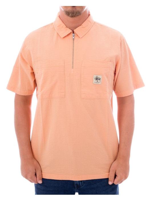 Stüssy Koszule Half Zip Seersucker pink