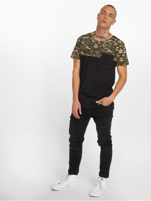 Sublevel t-shirt Camo zwart
