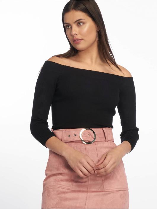 Tally Weijl Maglietta a manica lunga Knit Rib Bardot nero