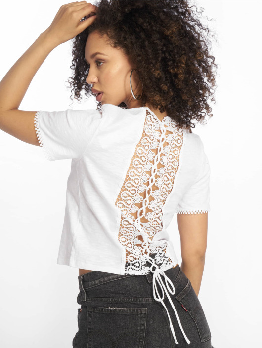 Tally Weijl T-Shirt Back Laced blanc