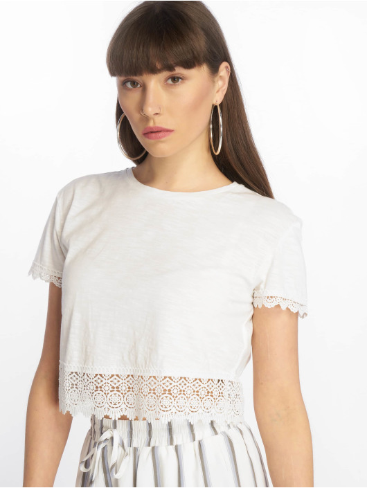 Tally Weijl T-Shirt Crochet Trim Slub blanc