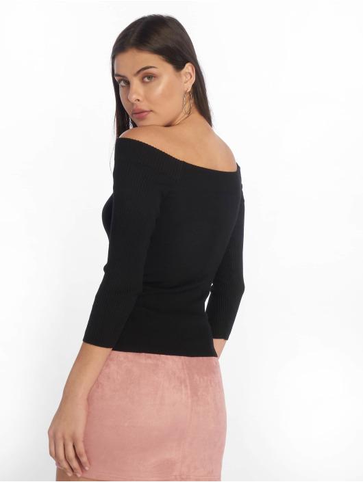 Tally Weijl T-Shirt manches longues Knit Rib Bardot noir