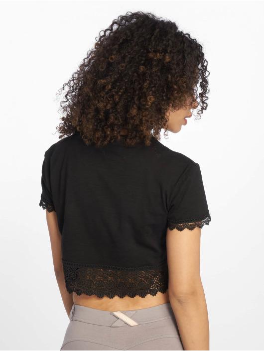 Tally Weijl T-Shirt Crochet Slub schwarz