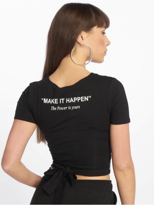 Tally Weijl T-shirt Lace Up Knitted svart