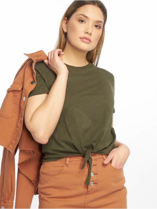 Tally Weijl T-Shirty Basic Knitted oliwkowy