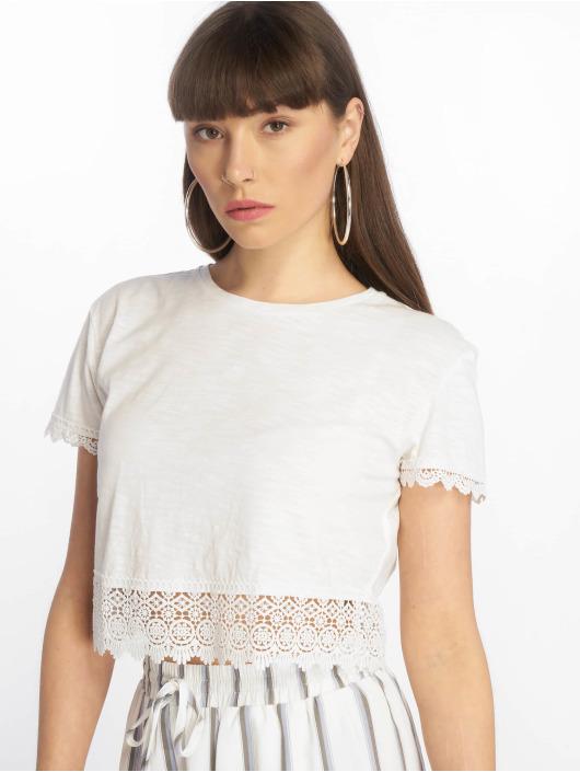 Tally Weijl Top Crochet Trim Slub blanco