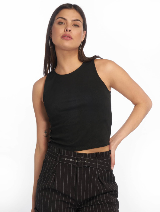 Tally Weijl Top Back Buttons Suede negro