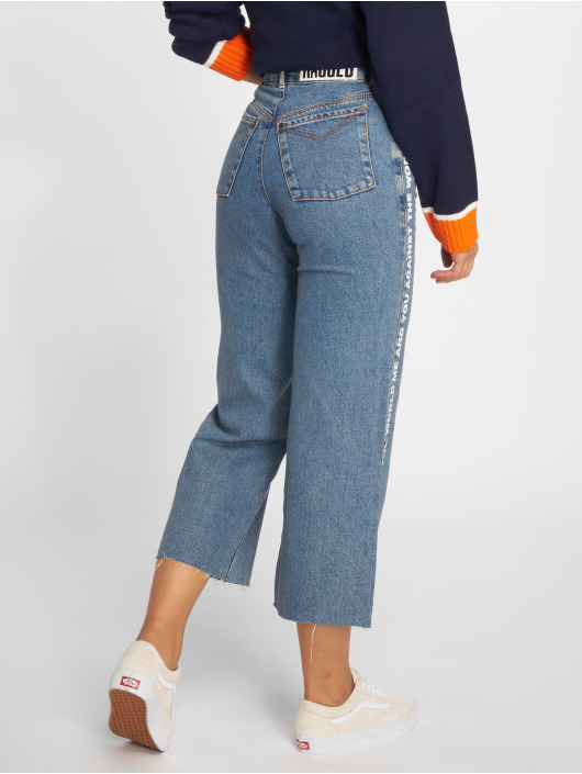 The Ragged Priest High Waisted Jeans Darling Printed modrá