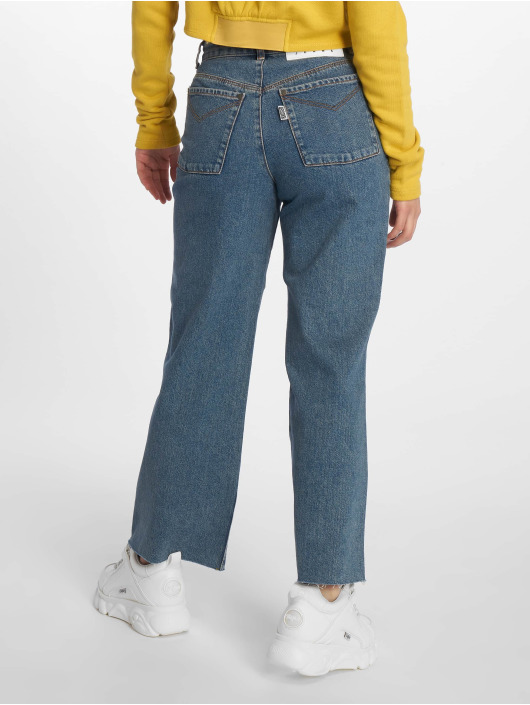 The Ragged Priest High Waisted Jeans Grip Cropped Skater modrá