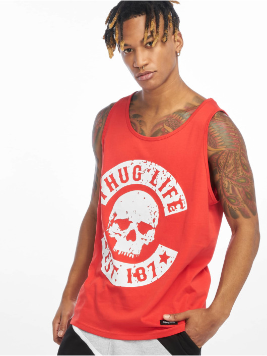 Thug Life Tank Tops B.Distress red
