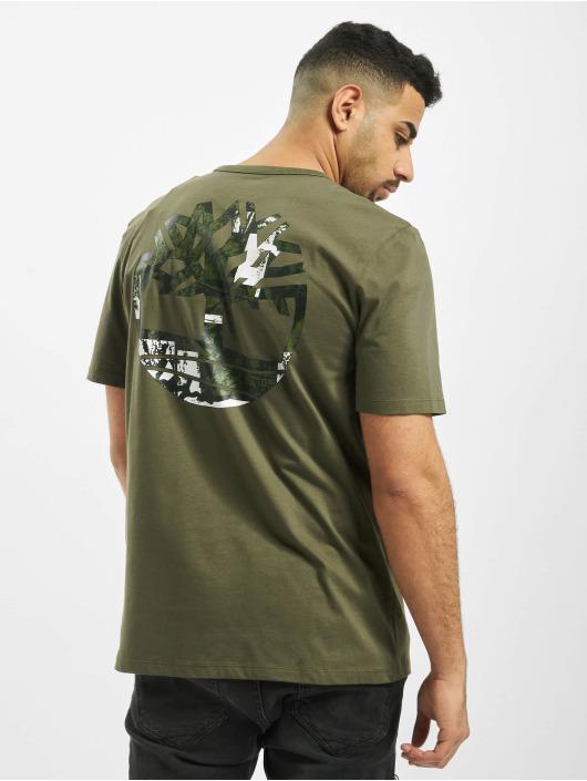 Timberland STACK LOGO TEE - T-shirt med print - grape leaf