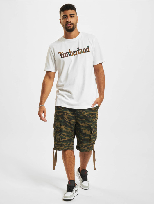 Timberland T-Shirty SS Camo Linear bialy