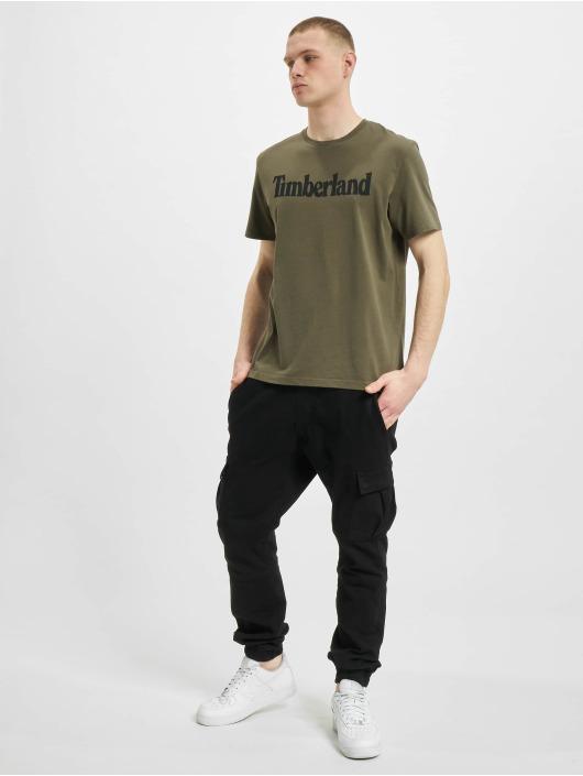 Timberland T-Shirty K-R Brand Linear oliwkowy