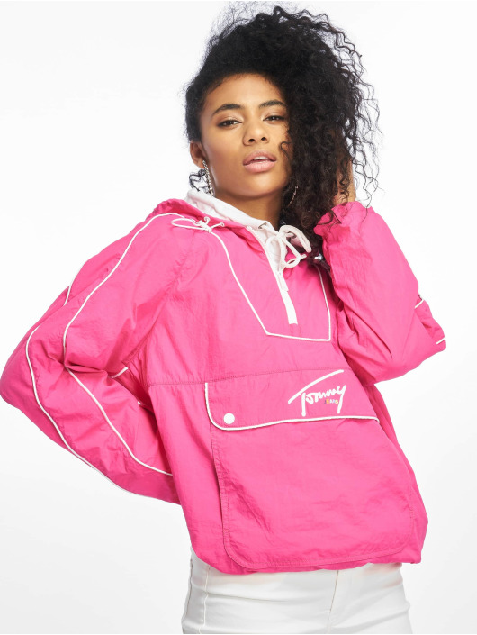 Tommy Jeans Lightweight Jacket Contrast Piping Popover pink