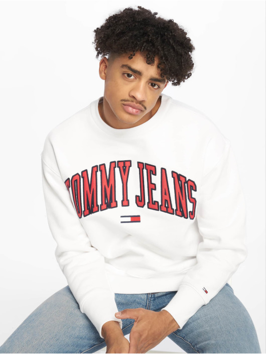 Tommy Jeans Swetry Clean Collegiate bialy