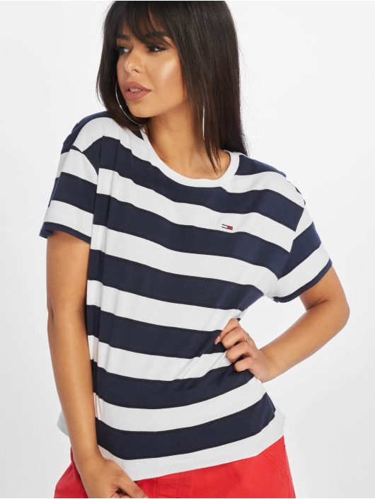 Tommy Jeans T-Shirt Stripe Cropped Boxy blau