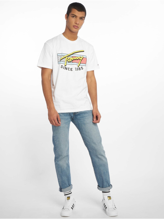 Tommy Jeans T-Shirt Neon Script weiß