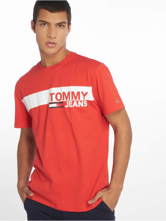 Tommy Jeans T-Shirty Essential Box Logo czerwony