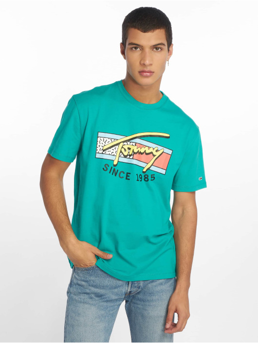 Tommy Jeans T-Shirty Neon Script zielony